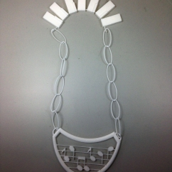 Students designed a piece with kinetic elements on Rhino, and sent them to Shapeways for a professional print. Fall 2014.