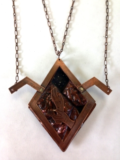 Chasing, sawing and piercing, cold connected and kinetic necklace inspired by icons of the show Twin Peaks. Spring 2015