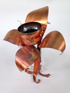 Cold connected base, heat patina, raised copper vessel. Spring 2015.