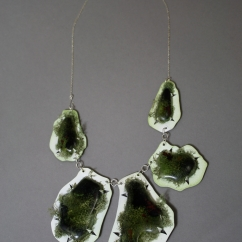 fused glass, dried moss, copper, .925 Silver