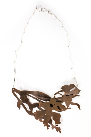 brown and copper trees necklace