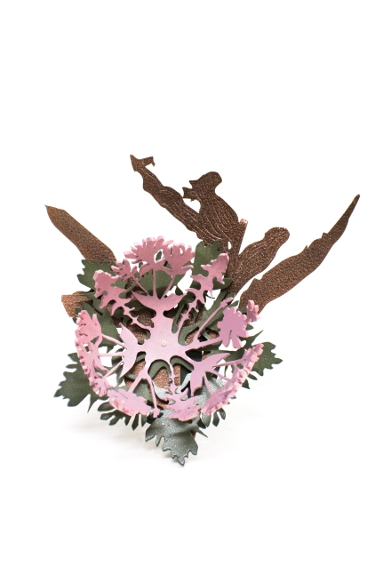 pink and green posy on a stick brooch